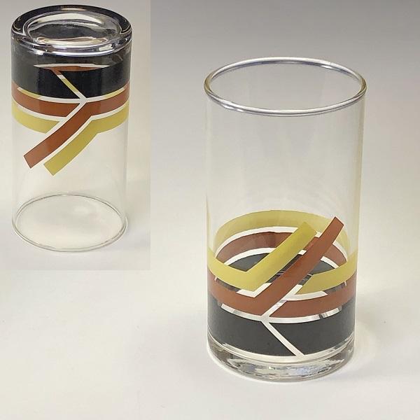黄ストライプガラスコップR6824