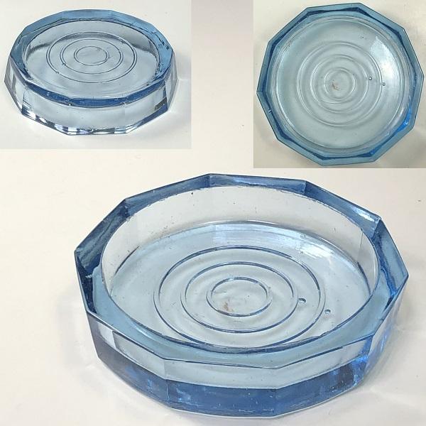昭和レトロ青ガラスコースターR6847