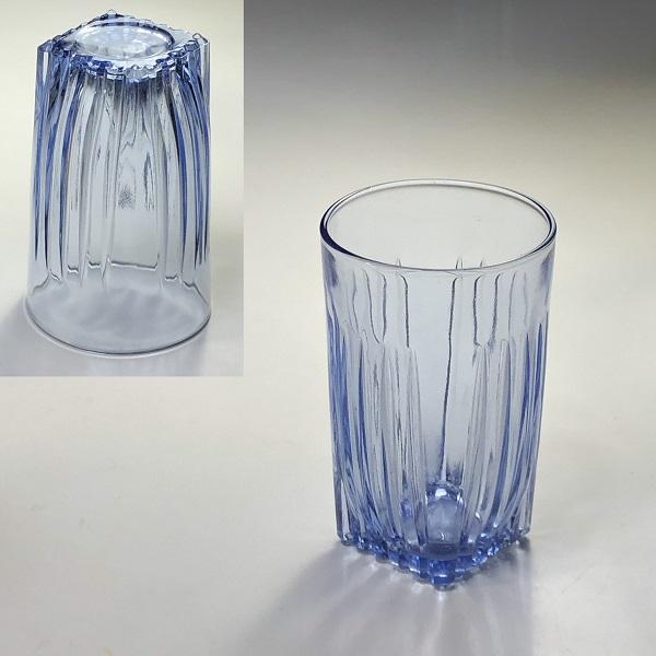 昭和レトロ青ガラスコップR6857