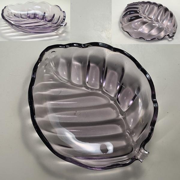 紫ガラス葉型トレイR6861