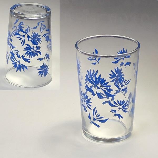 昭和レトロ佐々木グラスガラスコップ青R861