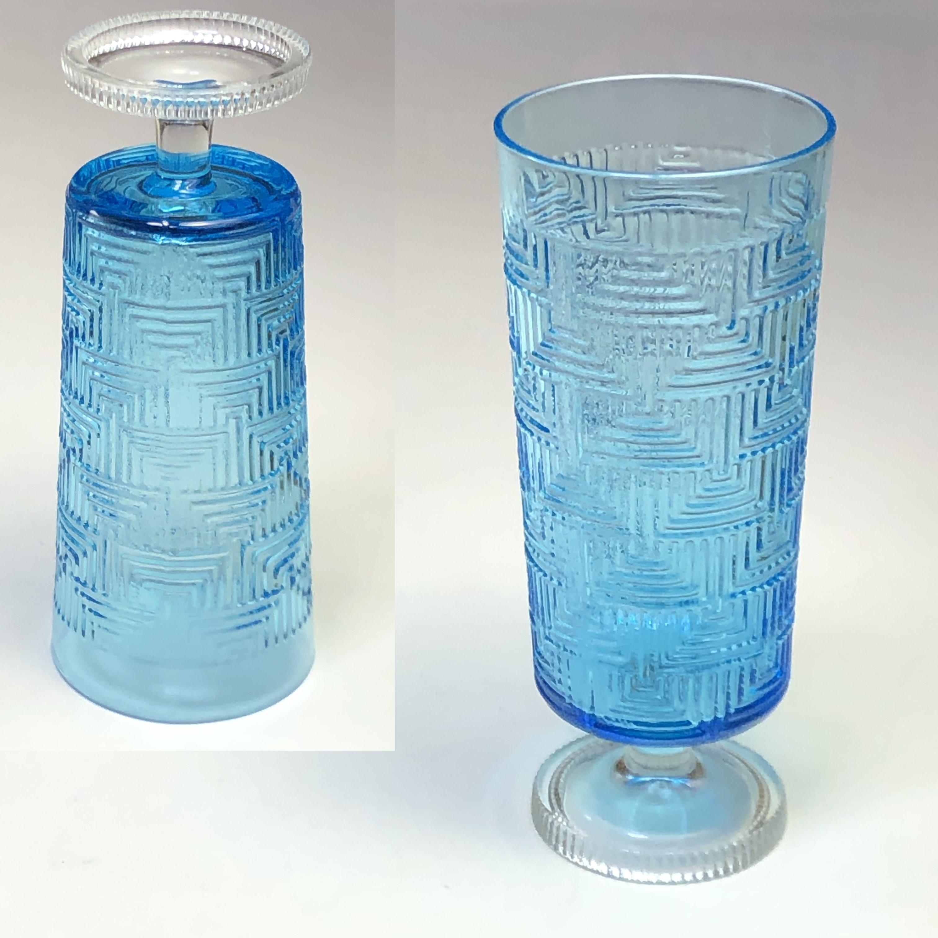 ステム型青ガラスコップR6991