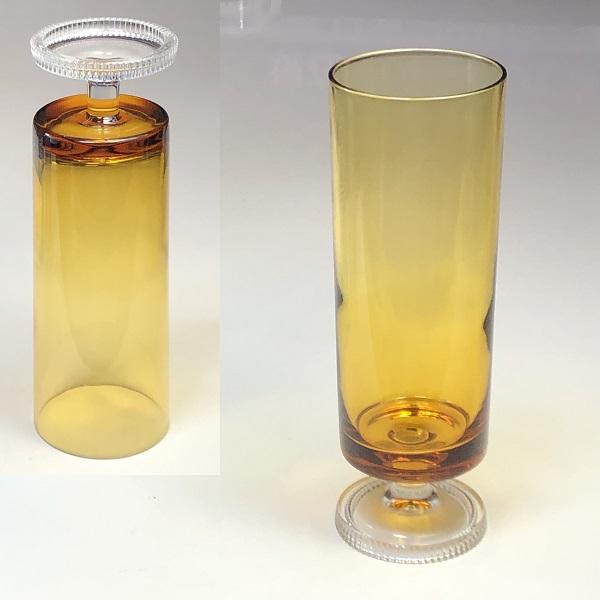 ステム型飴色ガラスコップR6994