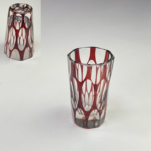 赤被切子ガラスショットグラスR7084