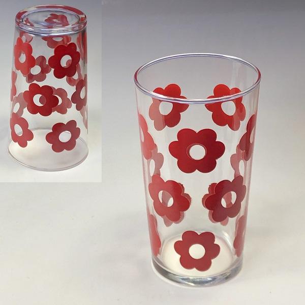 赤花柄ガラスコップR7133