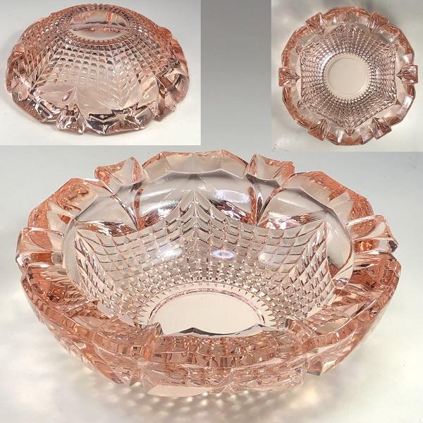 ピンクガラス灰皿R7142