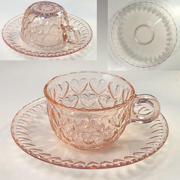 ピンクガラスカップ&ソーサーR7144