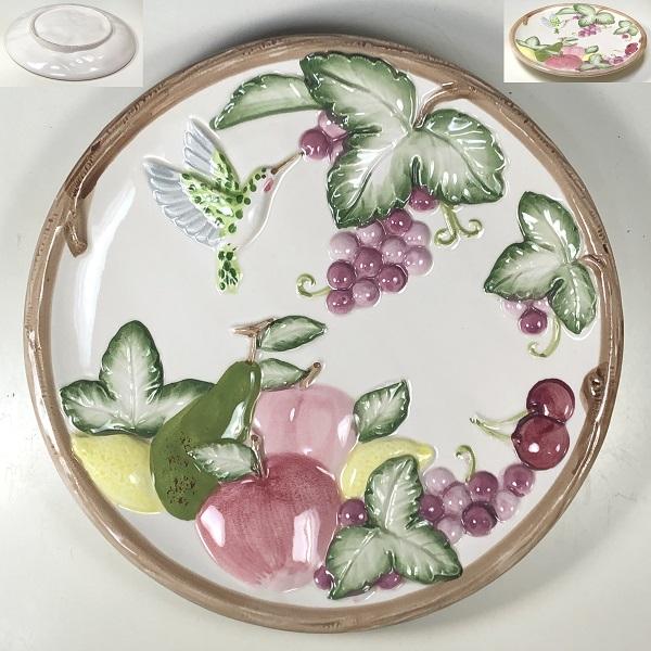 浮彫ハチドリ葡萄林檎梨檸檬フルーツ飾皿R7166
