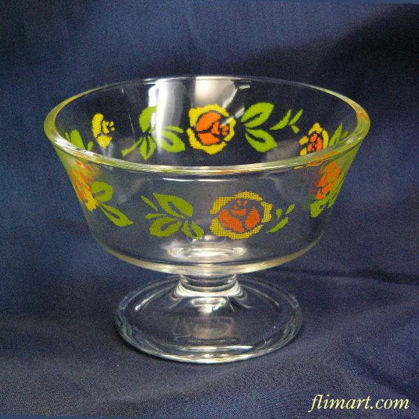 昭和レトロアデリアグラス花柄アイスクリーム入れ