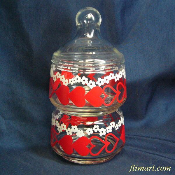 昭和レトロアデリアグラス花柄ガラスキャンディーケースハート柄