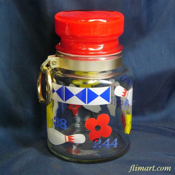 昭和レトロアデリアグラスボーリング柄ガラスキャンディーケース