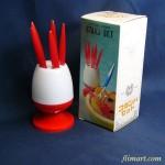 昭和レトロプラスチック製フォークスタンド&フォーク赤