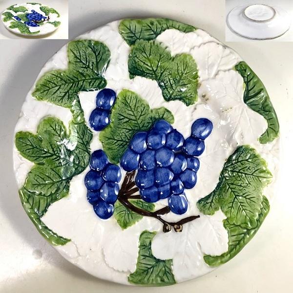 浮彫フルーツ葡萄飾皿R7363