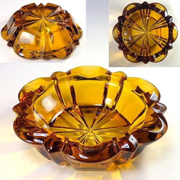 飴色ガラス灰皿R7405