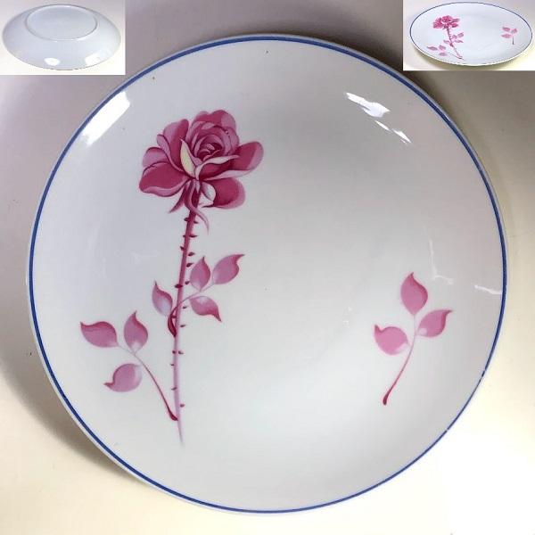 薔薇柄23cmプレートR7492