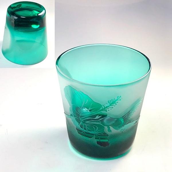 緑ガラスロックグラスR7499