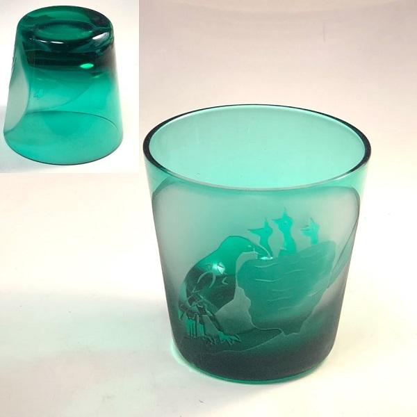 緑ガラスロックグラスR7504