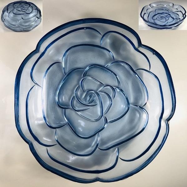 薔薇型青ガラス19cmボウル
