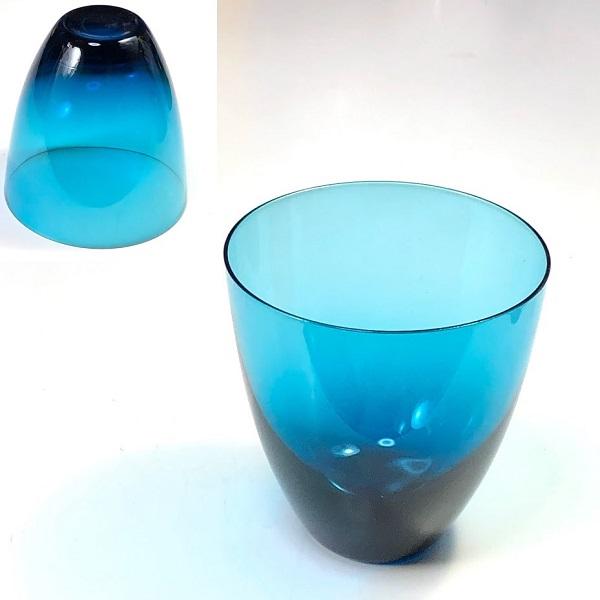カガミクリスタル青ガラスコップR7561