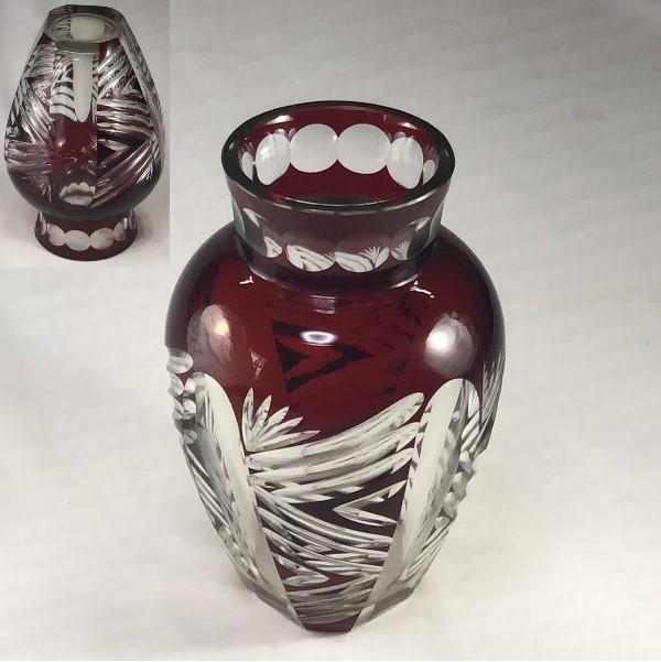 昭和レトロ被赤切子花瓶R6397