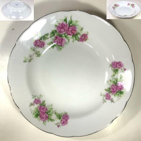 薔薇柄スープ皿R7352