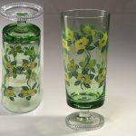 ステム型花柄緑ガラスコップR6520