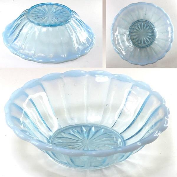 青ガラスプレス皿カキ氷小鉢R7592