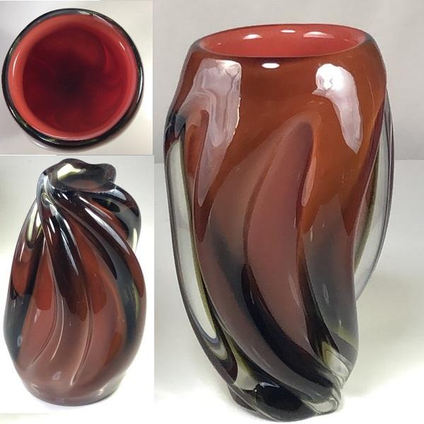 昭和レトロガラス花瓶R6547