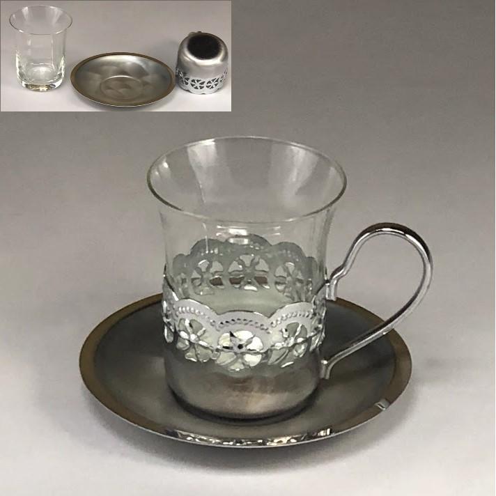 昭和レトロガラスカップ&ソーサーR6254