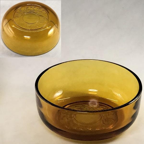 昭和レトロ飴色ガラス小鉢R6437