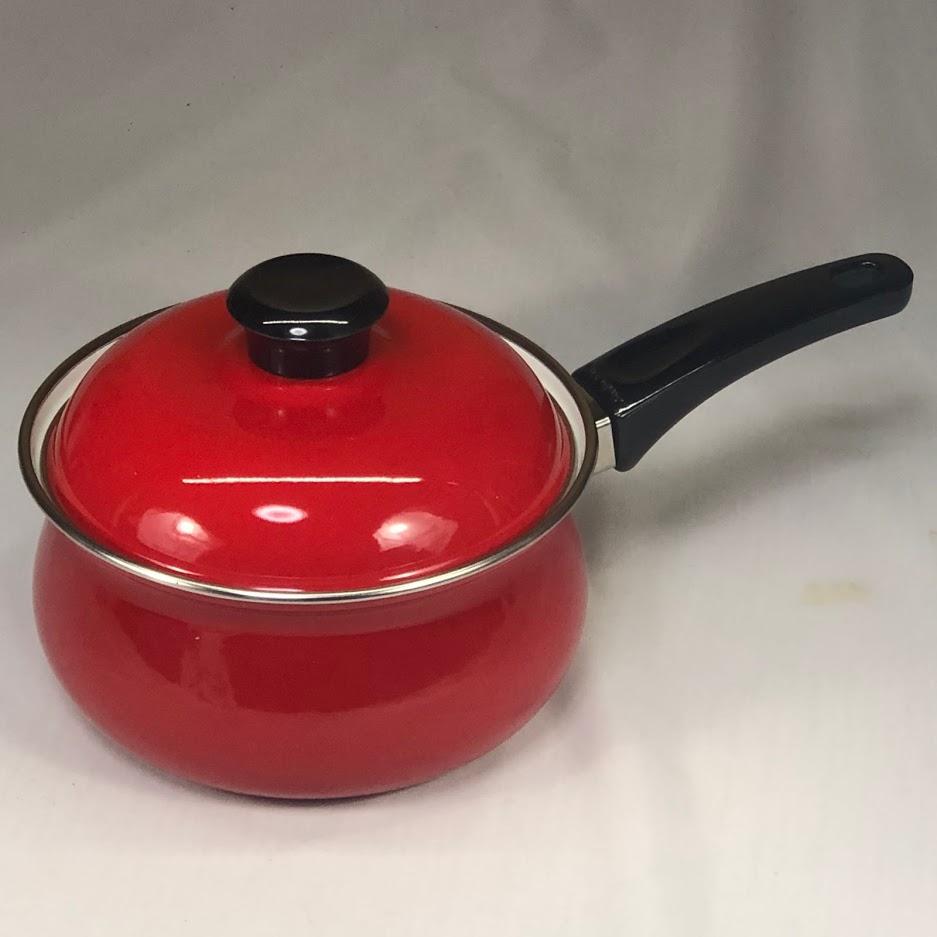 サンコー赤ホーロー片手鍋R6309