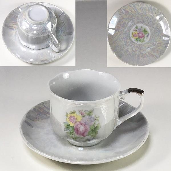 ラスター花柄デミタスカップ&ソーサーR6577