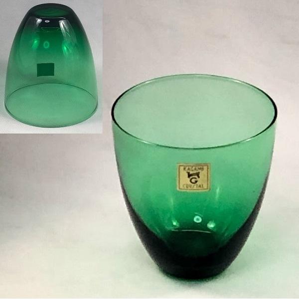 カガミクリスタル緑ガラスコップR6450