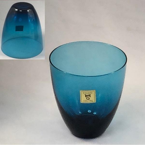 カガミクリスタル青ガラスコップR6456