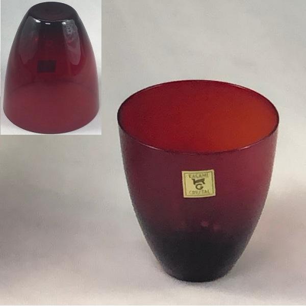 カガミクリスタル赤ガラスコップR6453