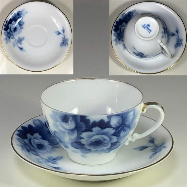 名陶MEITO OLD BLUE薔薇柄カップ&ソーサー