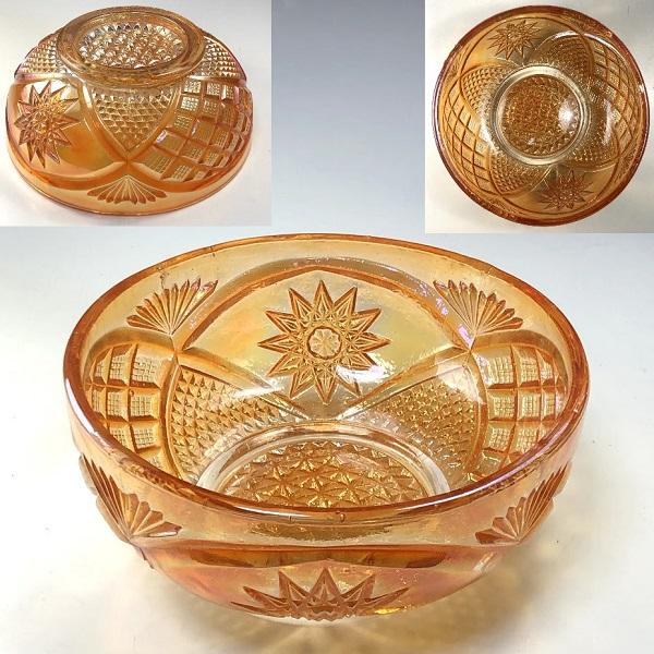 ラスタープレスガラスオレンジ18cmボウル