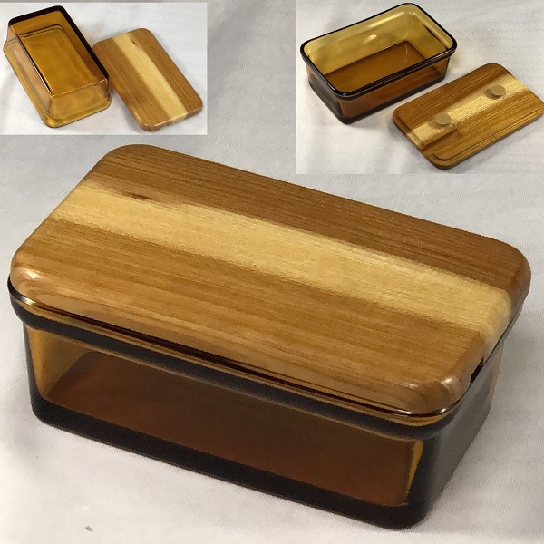 飴色ガラスバターケースR6487